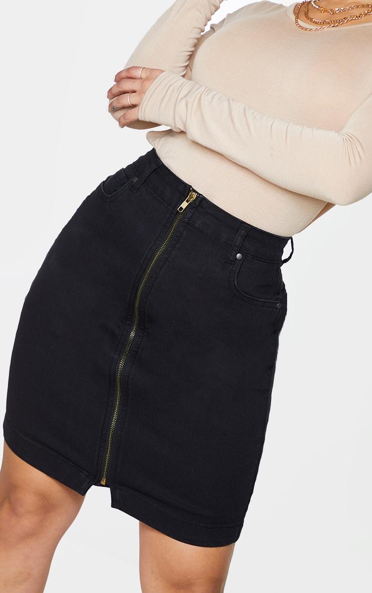 Shape Black Zip Detail Denim Bodycon Skirt 5