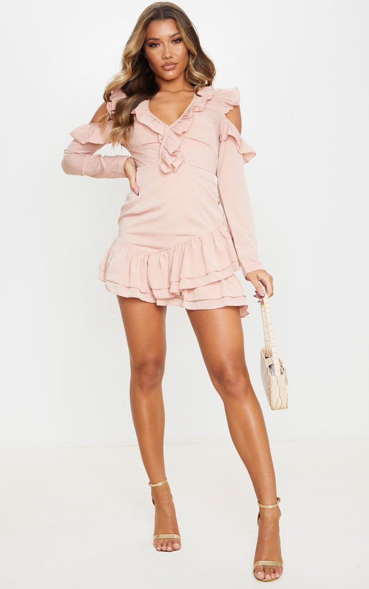 Dusty Pink Ruffle Detail Cold Shoulder Bodycon Dress 3