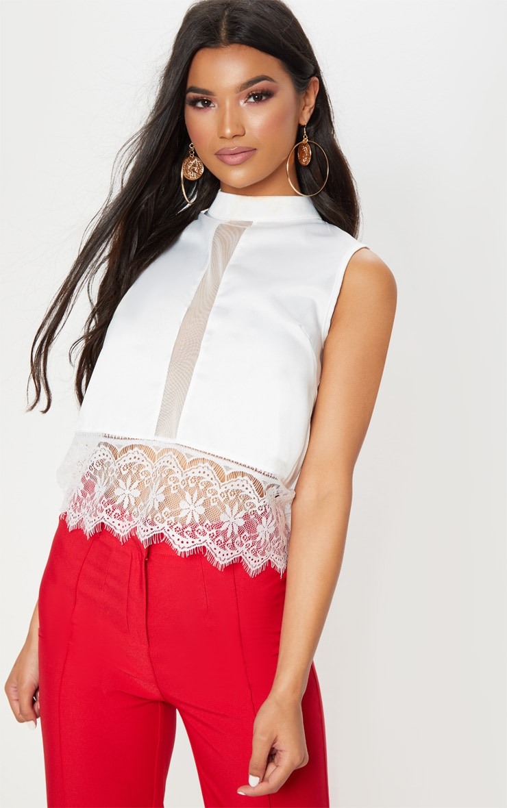 Cream Satin Cropped Lace Trim Blouse 1
