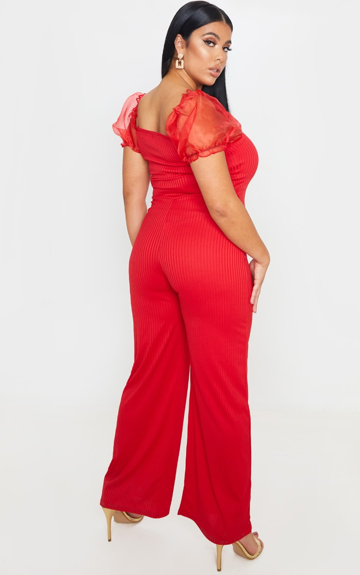 Plus Red Organza Sleeve Wide Leg Jumpsuit 2