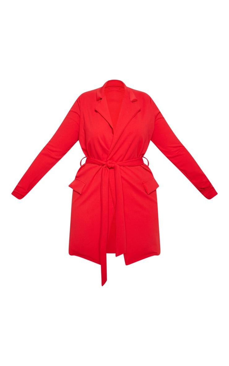 Plus Red Pocket Detail Tie Waist Blazer 3