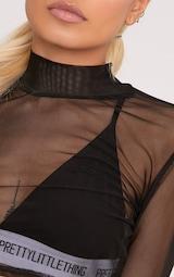 Janie Black Mesh High Neck Longsleeve Crop Top 5