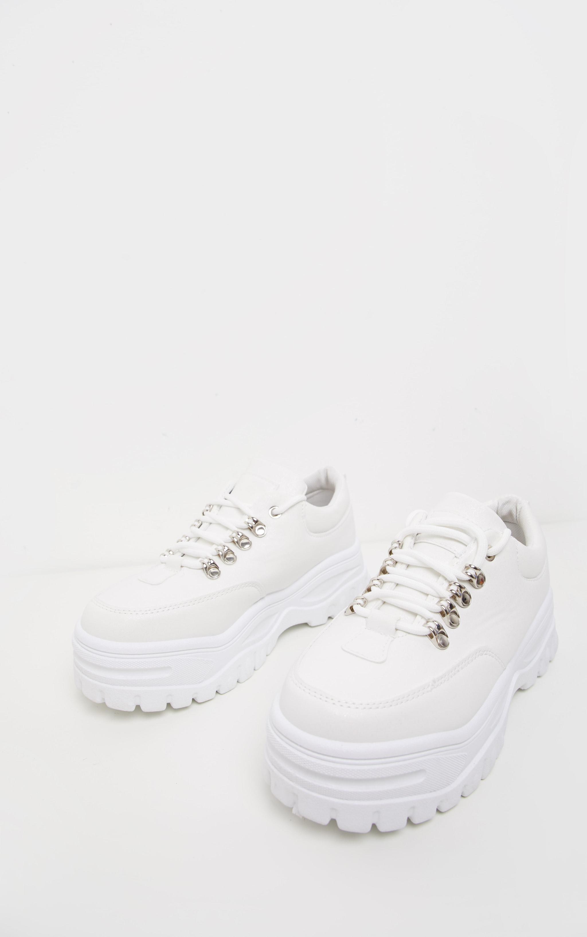 White Flatform PU Chunky Hiker Sneaker 3