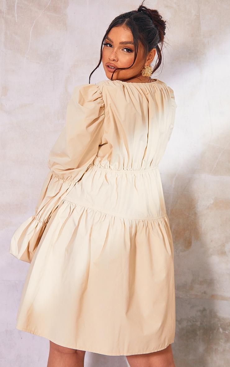 Plus Cream Tierd Puff Sleeve Dress 2