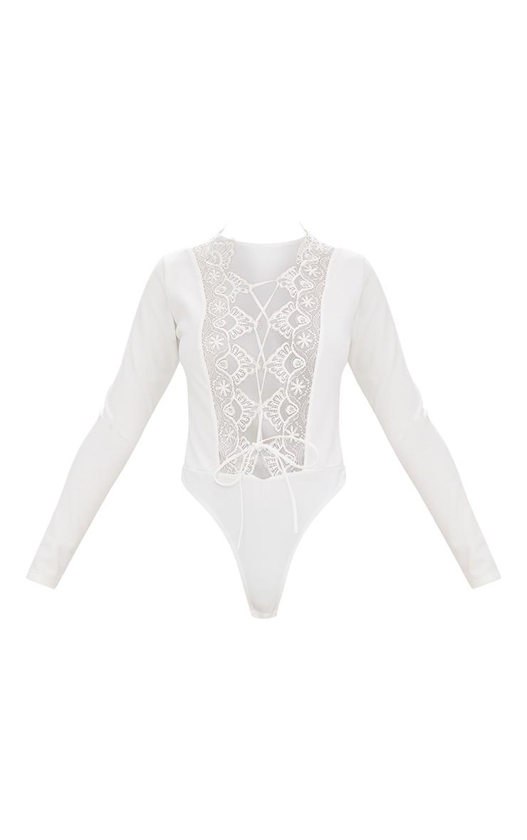 White Lace Up Longsleeve Thong Bodysuit 3