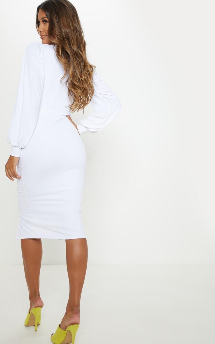 White Fine Rib Balloon Sleeve Midi Dress 2
