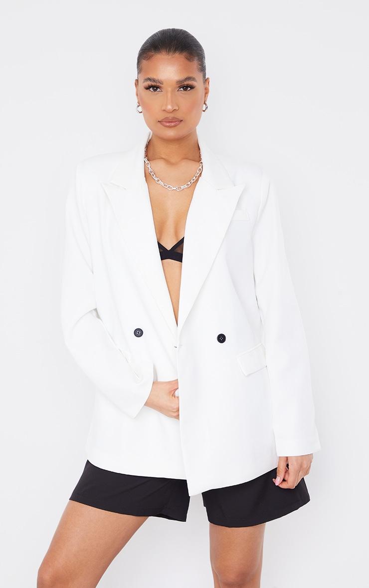 Blazer blanc oversize à slogan au dos 3