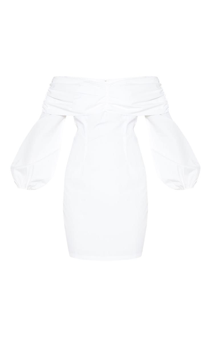 White Puff Sleeve Ruched Bardot Bodycon Dress 4