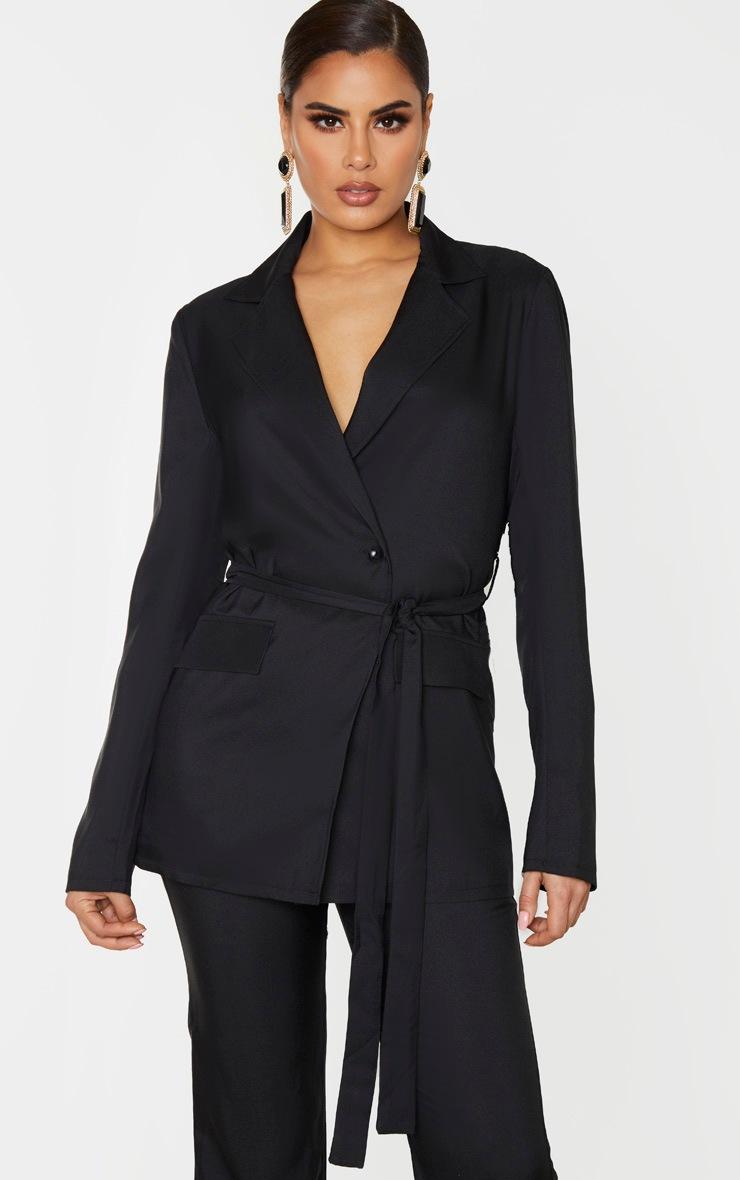 Tall Black Tie Waist Button Up Blazer 4