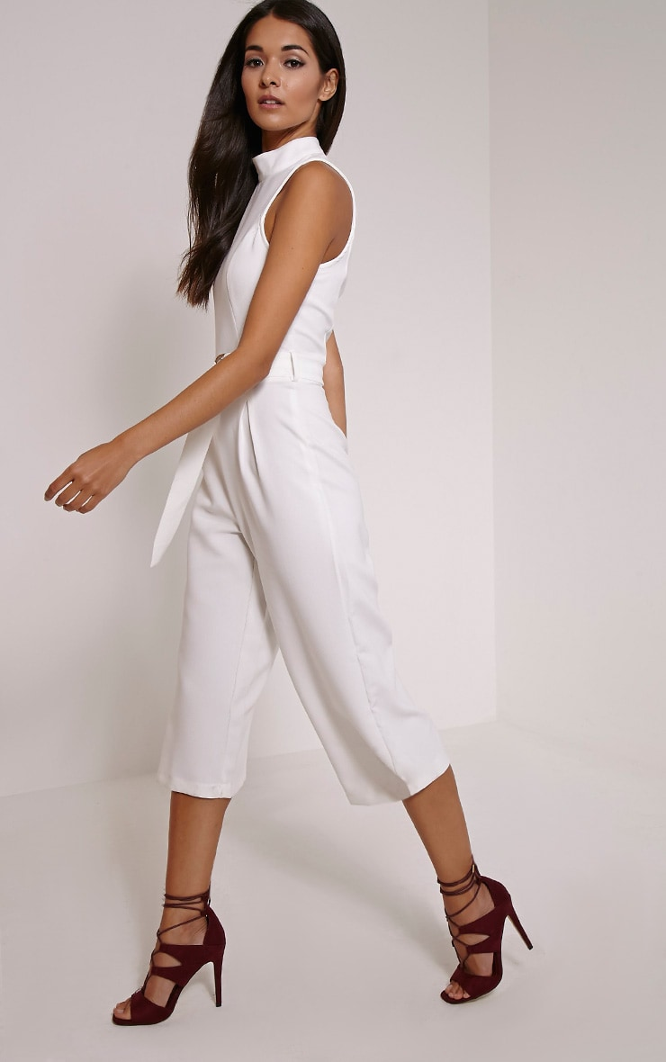 Candace White High Neck D Ring Culotte Jumpsuit 3