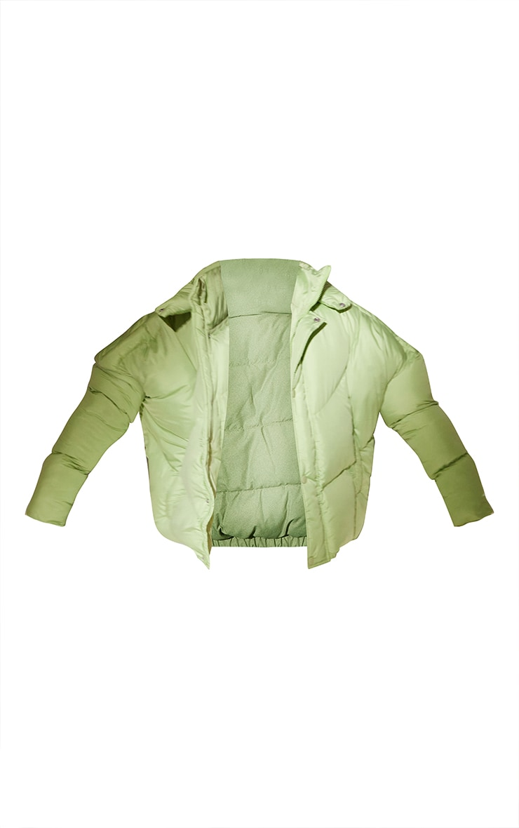 RENEW Tall Sage Green Nylon Oversized Curved Panel Puffer Jacket 5
