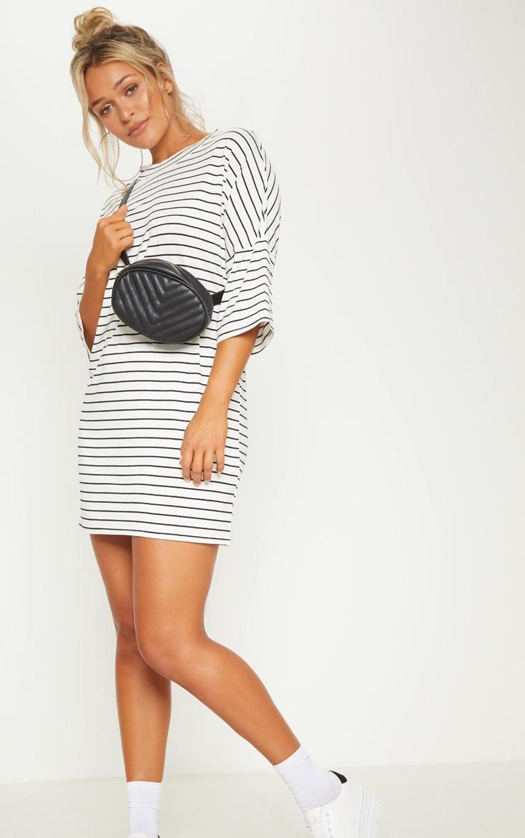 White Stripe Boyfriend Fit T Shirt Dress Prettylittlething Usa