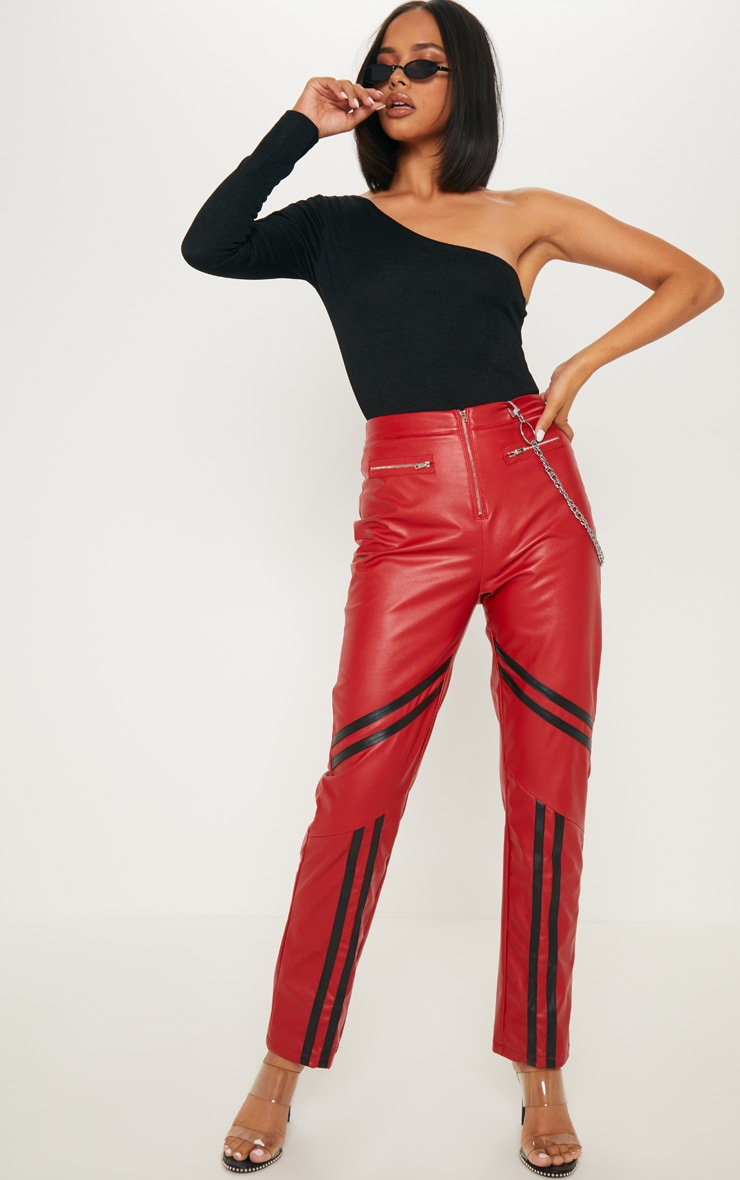 Red Faux Leather Stripe Detail Cigarette Trouser