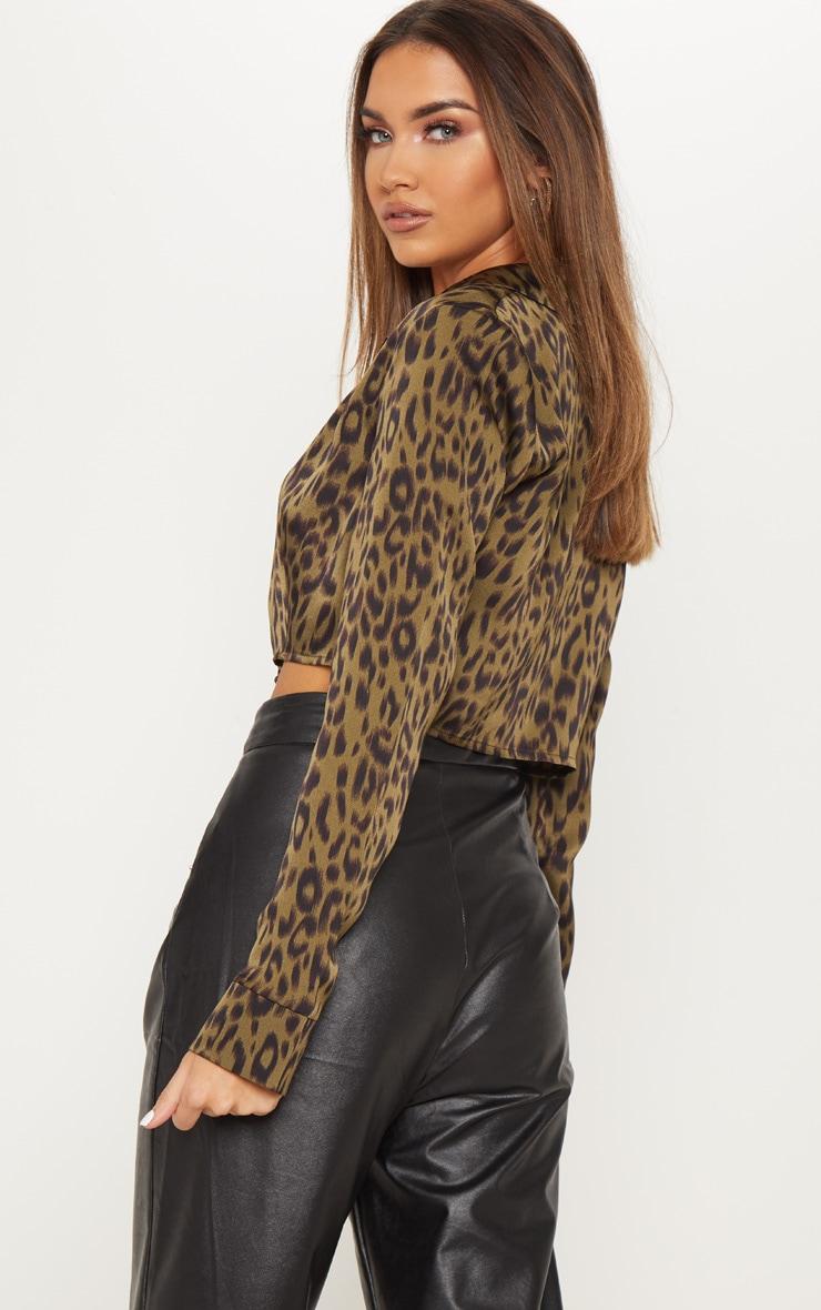 Khaki Leopard Tie Front Crop Shirt 2