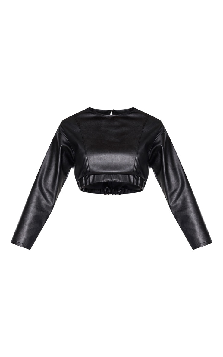 Black Faux Leather Long Sleeve Crop Top 3