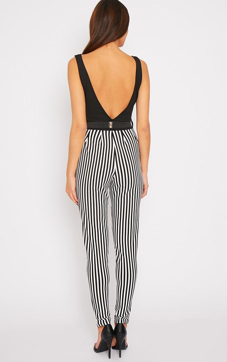 Bryn Black Plunge Stripe Jumpsuit  2