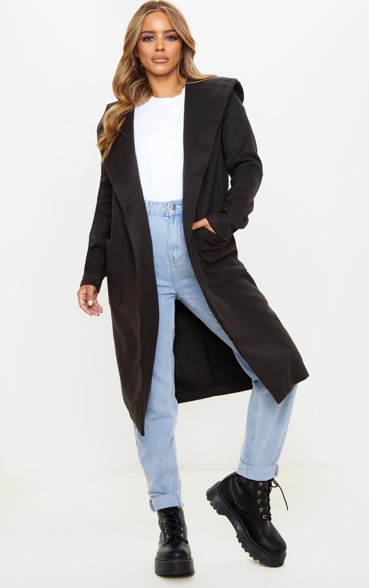 Petite Waterfall Black Hooded Coat  1