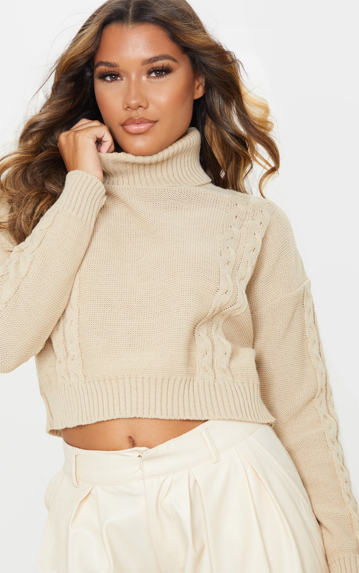 Stone Cable Detail Cropped Sweater 5