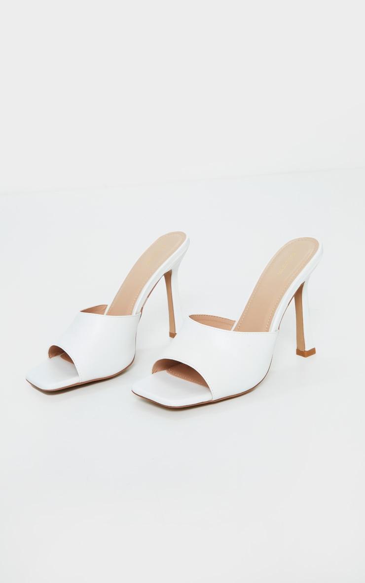 White Square Toe Mule High Heels 3