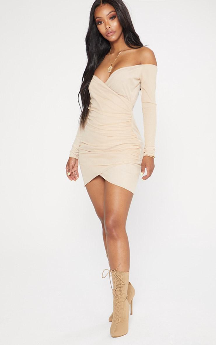 Shape Nude Mesh Ruched Bardot Bodycon Dress 4