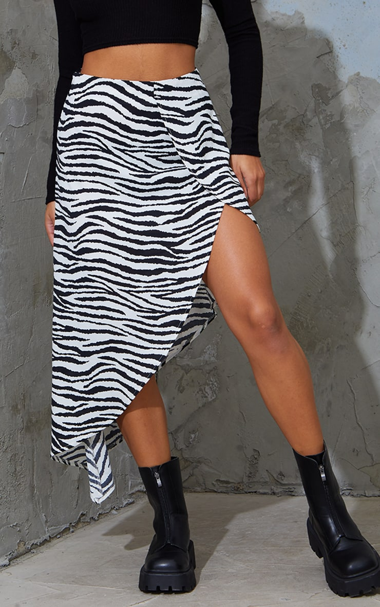 Zebra Print Satin Asymmetric Skirt 2
