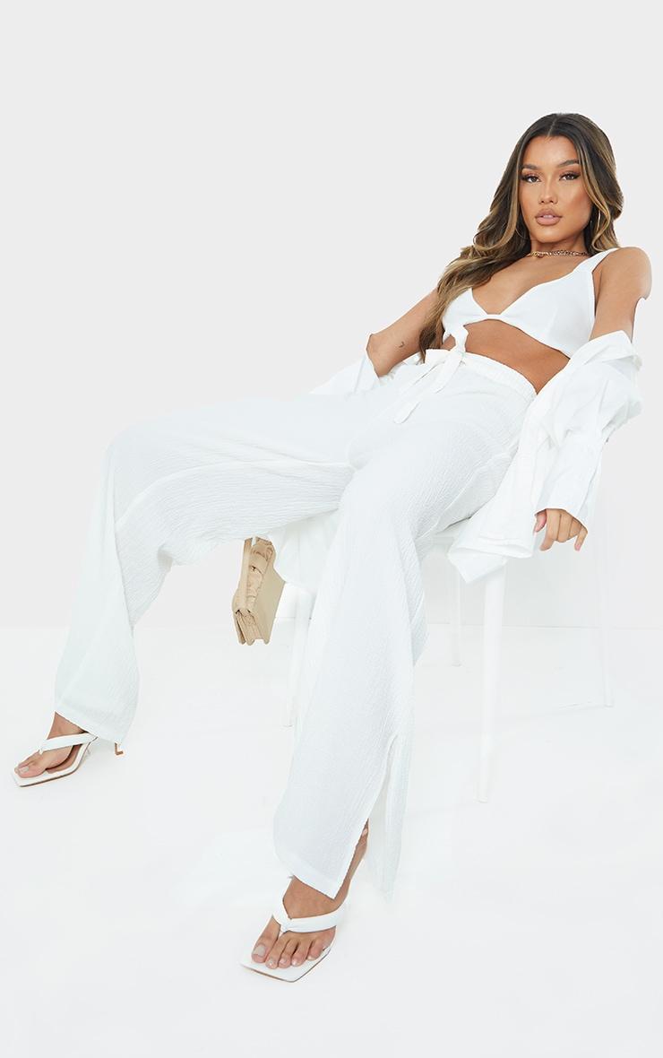 White Textured Drawstring Waist Wide Leg Trouser 1
