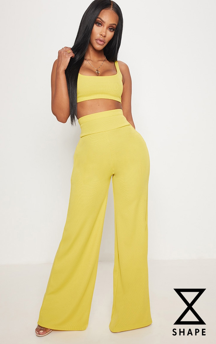 Shape Chartreuse Bandage Extreme High Waist Wide Leg Trousers