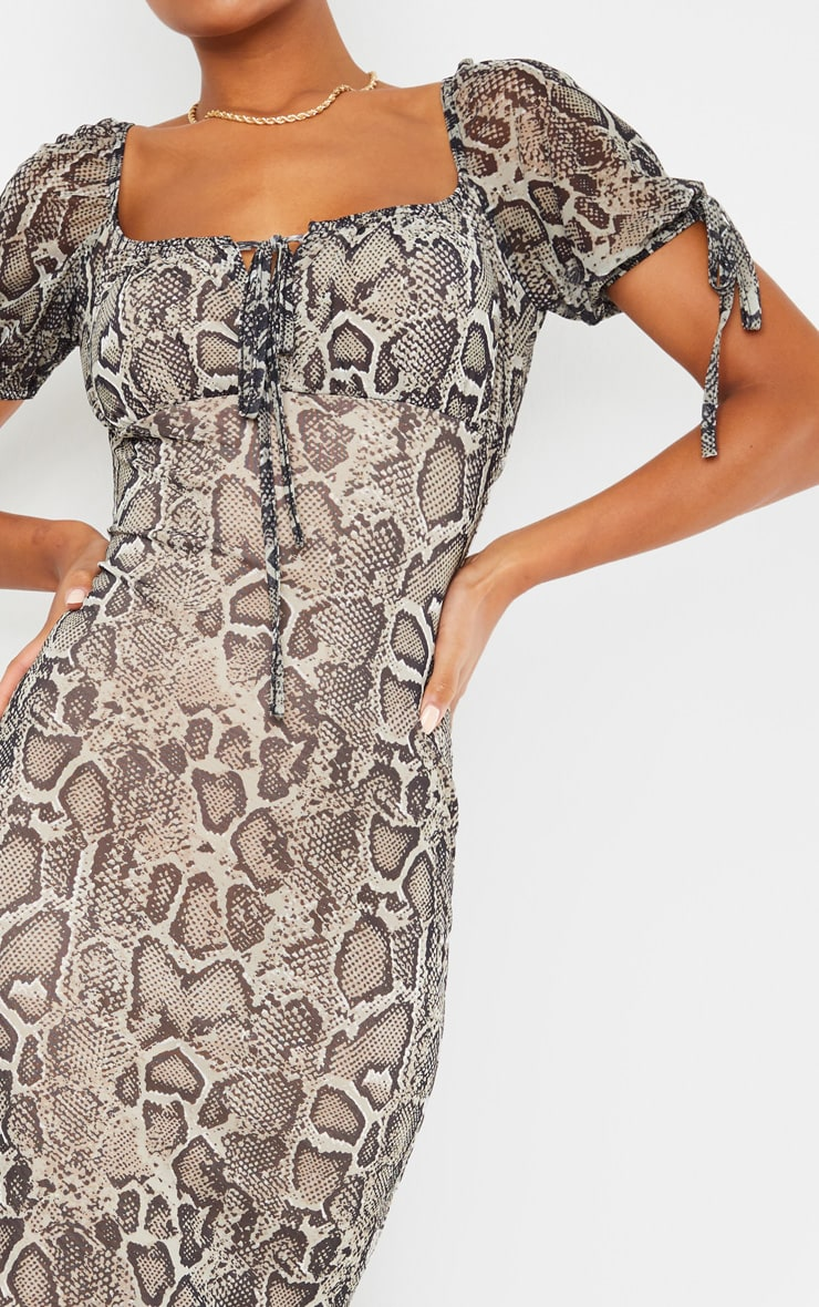 Stone Snake Print Mesh Short Sleeve Midi Dress 4