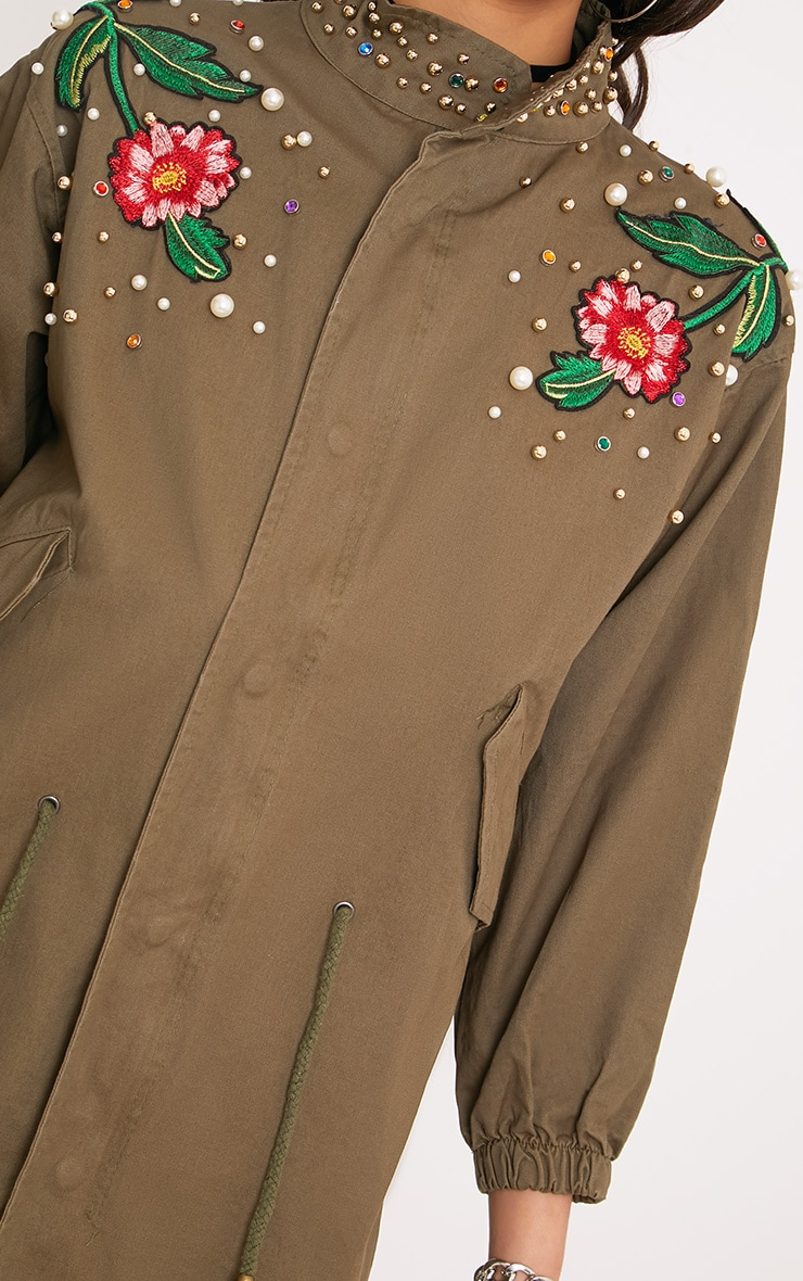 Lynelle Khaki Pearl Floral Badge Light Weight Jacket 4