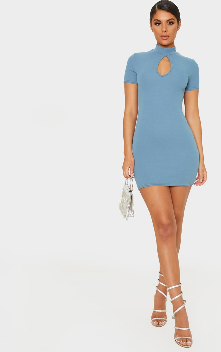 Blue Short Sleeve Key Hole Cut Out Bodycon Dress 4