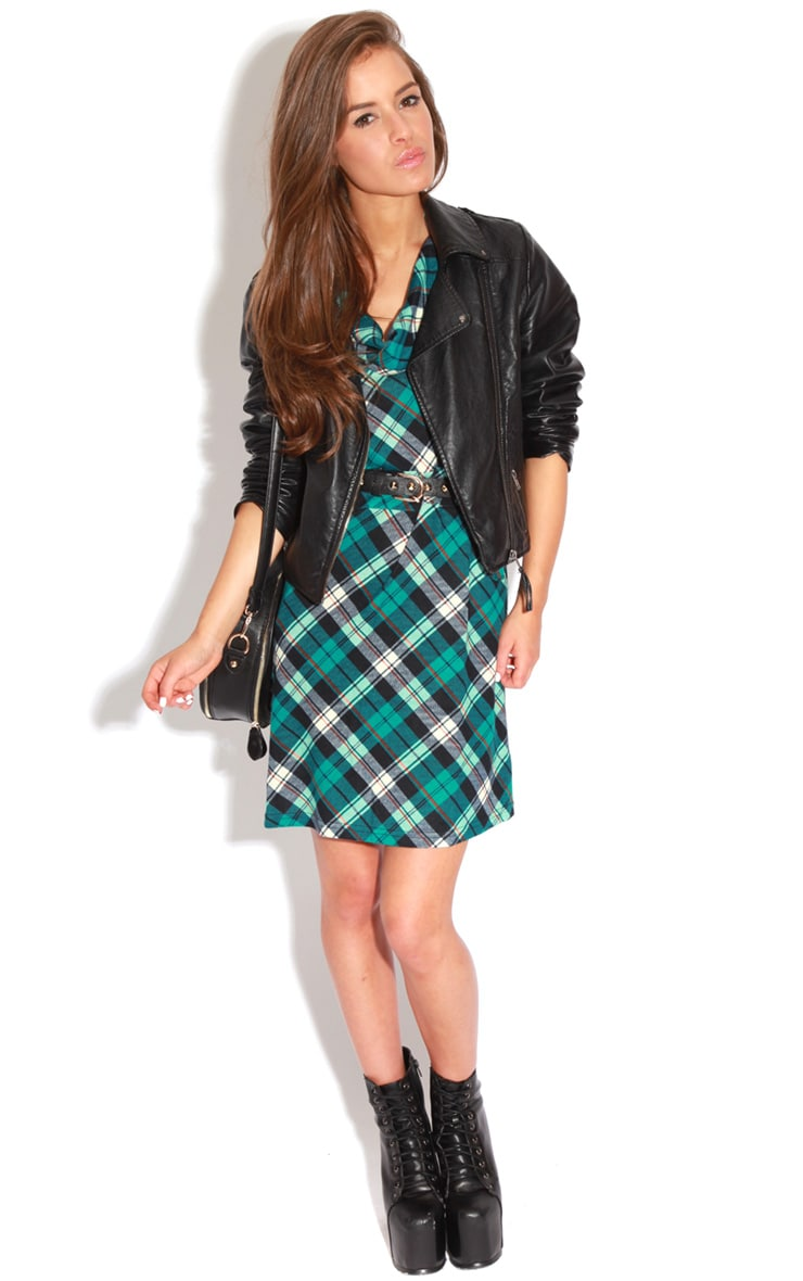 Addie Blue Tartan Dress  3