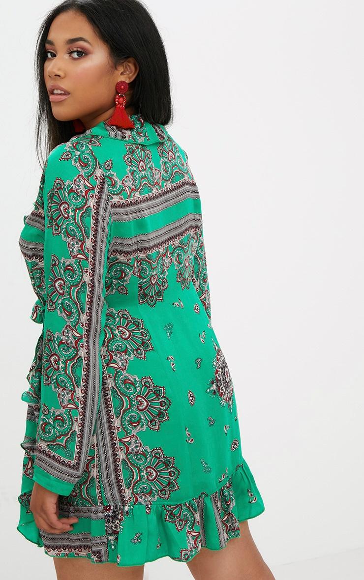 Plus Green Scarf Ruffle Wrap Dress 2