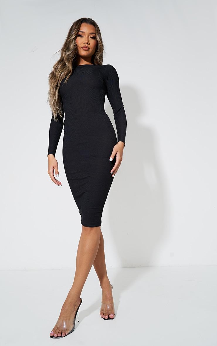 Basic Black Ribbed Long Sleeve Bodycon Dress 1