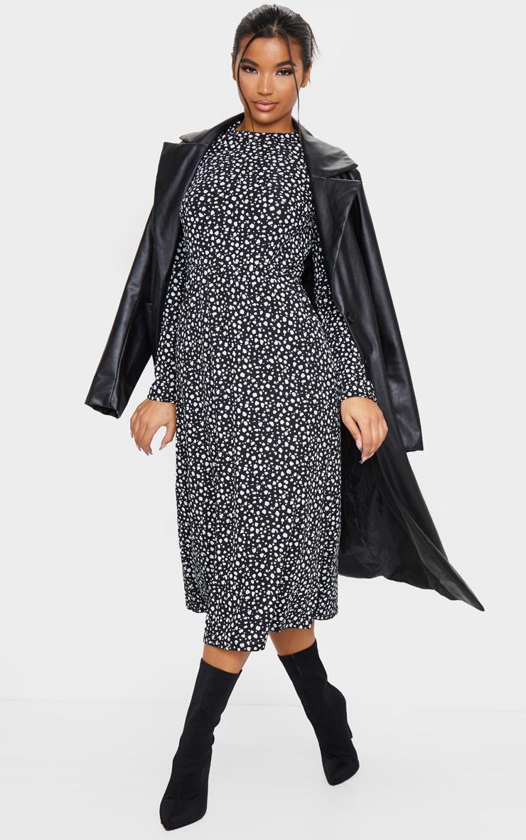 Robe mi-longue côtelée à imprimé dalmatien noir et manches longues 3