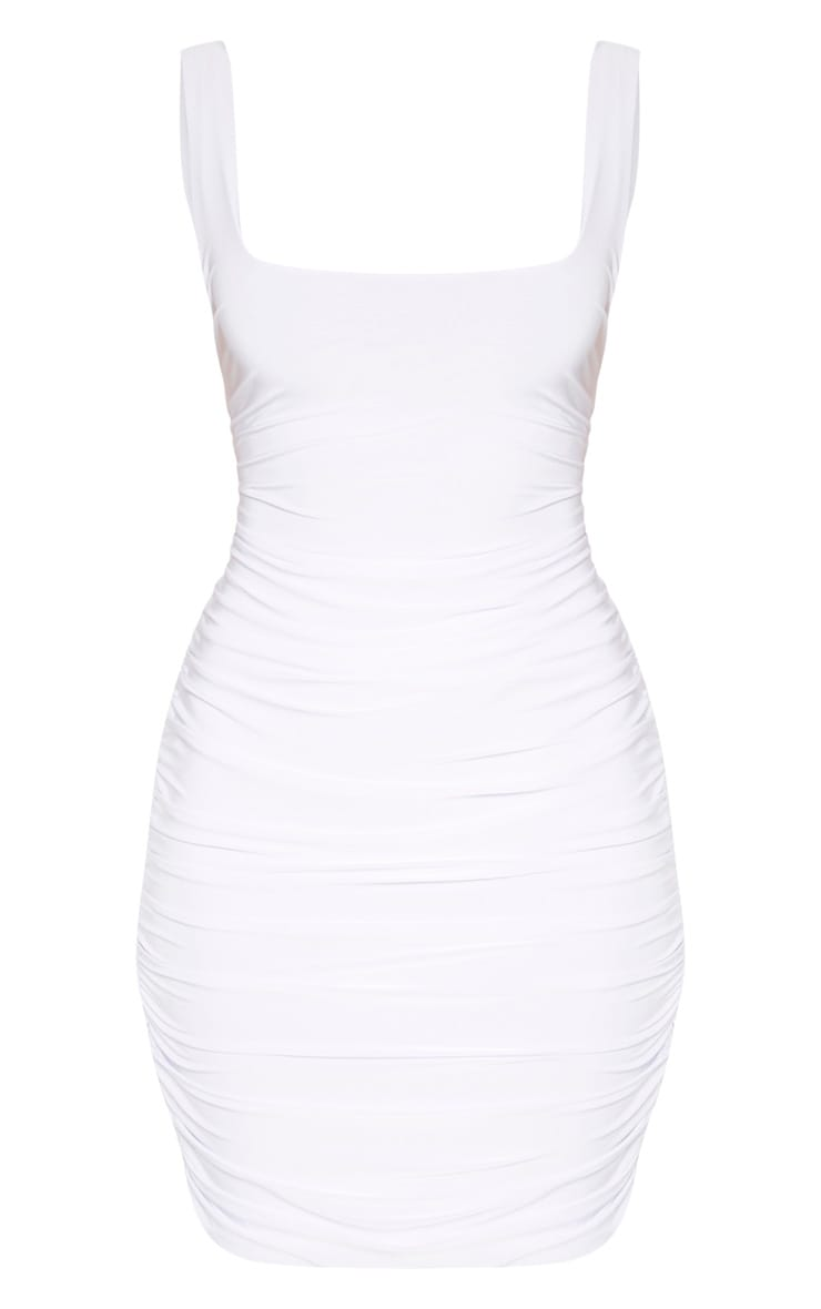 White Slinky Ruched Sleeveless Bodycon Dress 3