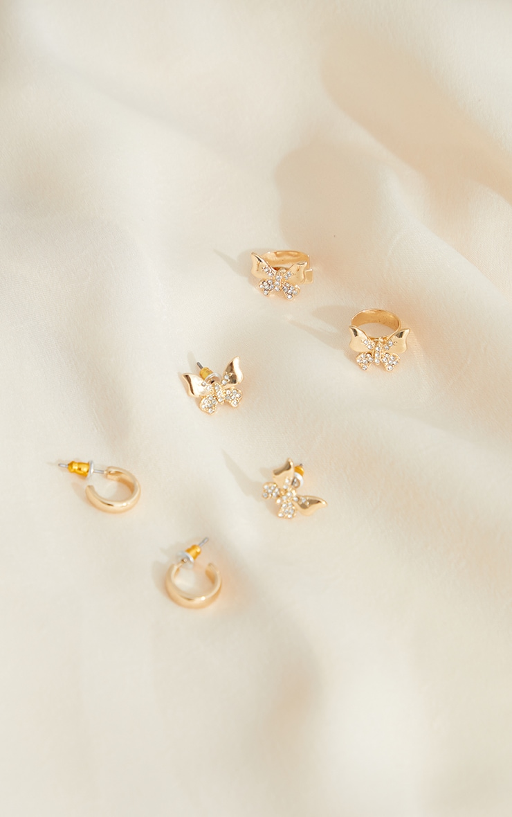 Gold Assorted Butterfly Earing Hoop And Cuff Pack 1