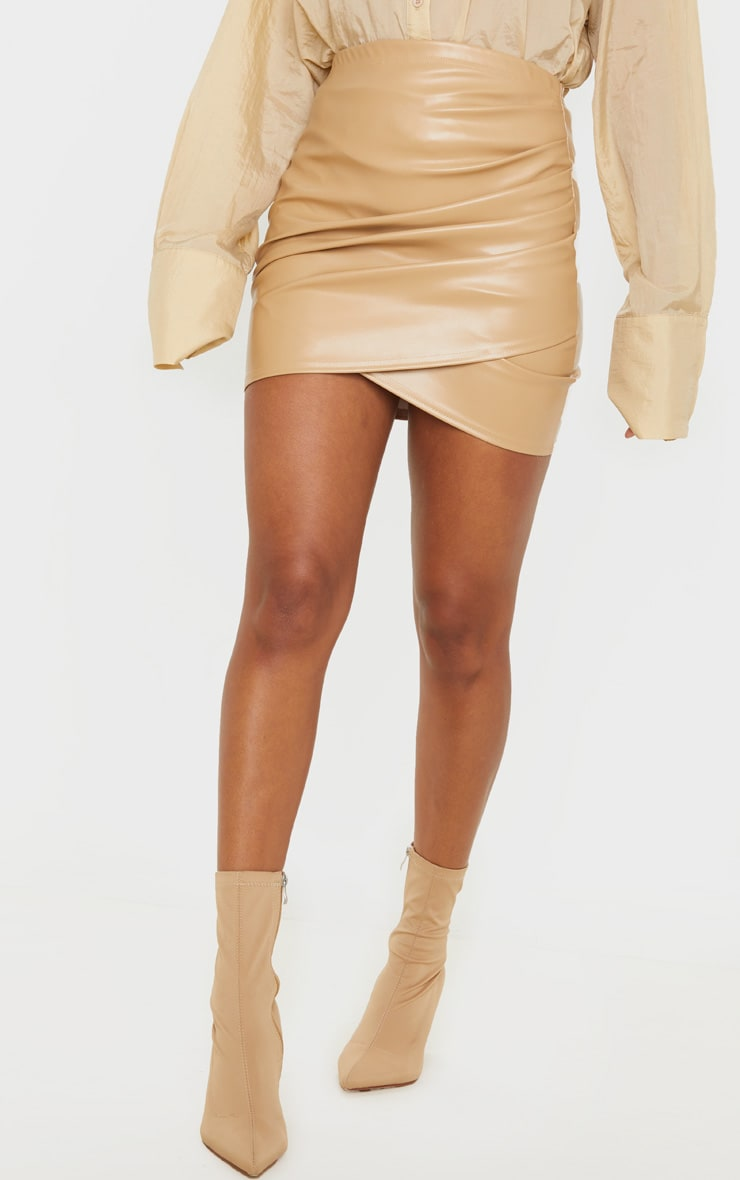 Camel Faux Leather Ruched Wrap Skirt 2