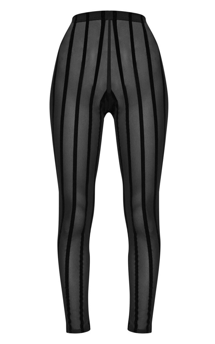 Black Mesh Stripe Legging 3