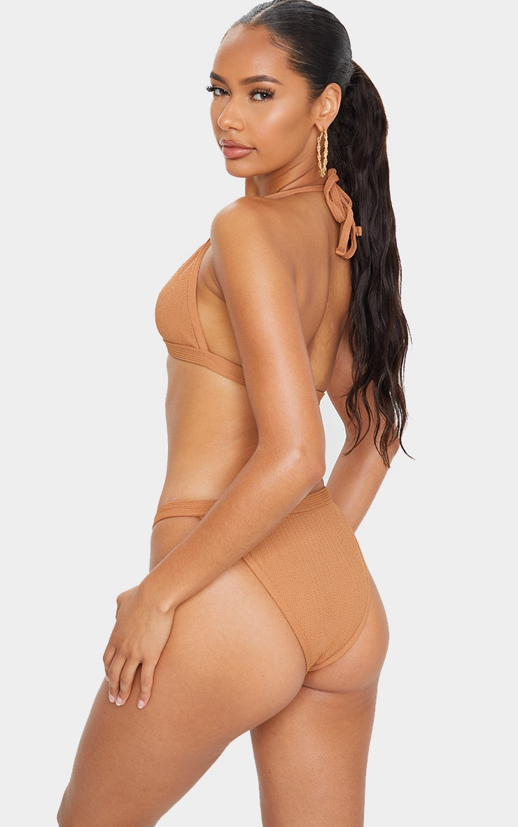 Mocha Crinkle Front Clasp Triangle Bikini Top 2
