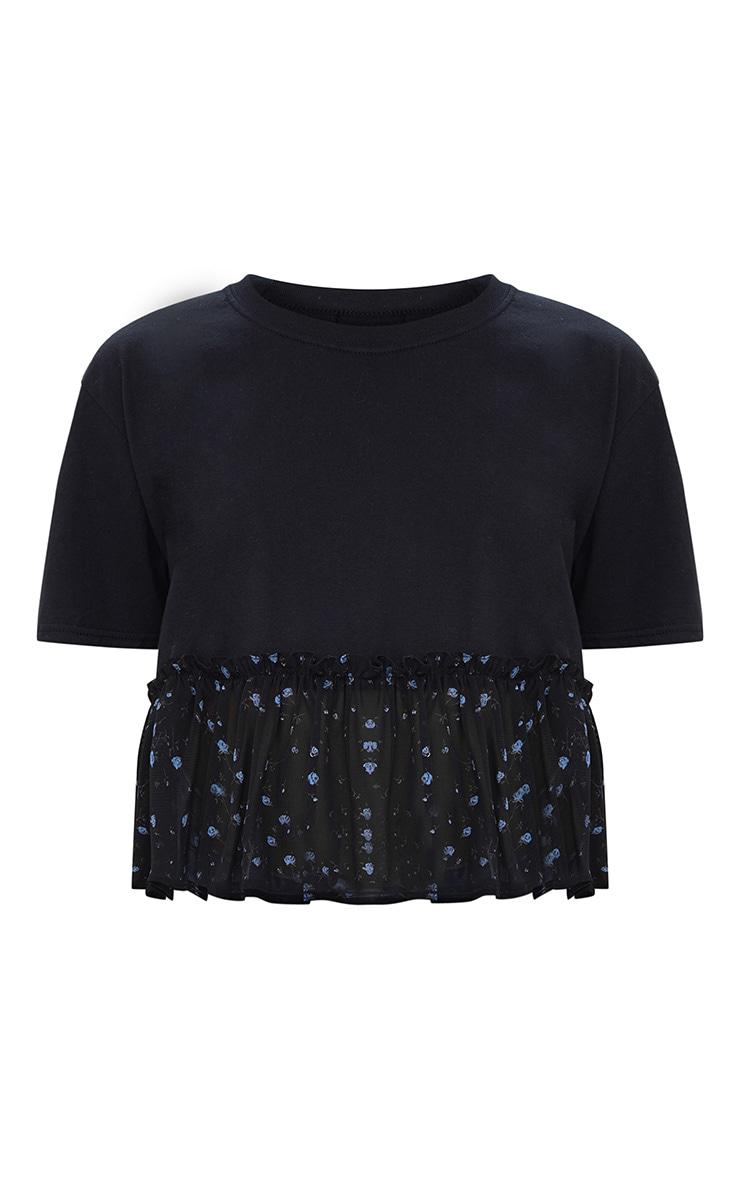 Black Floral Print Frill Hem T Shirt 2