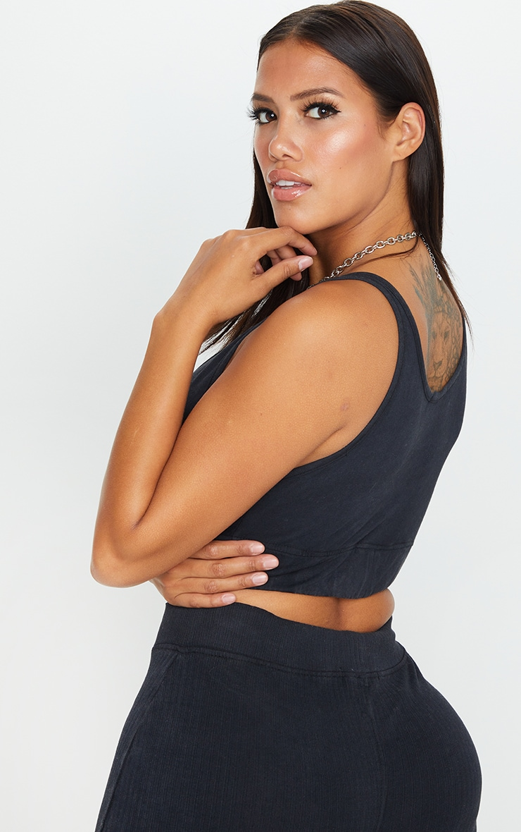 Shape Charcoal Washed Cotton Bralet 2