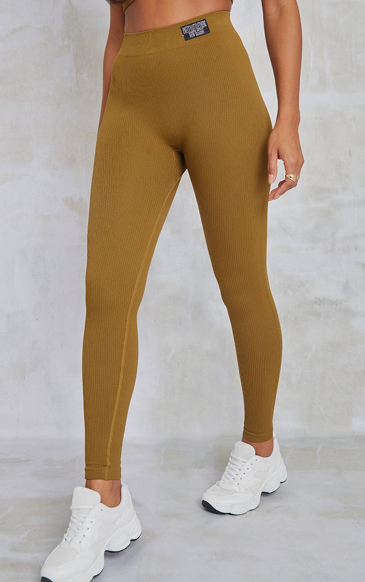 PRETTYLITTLETHING Olive Contour Ribbed Leggings 2