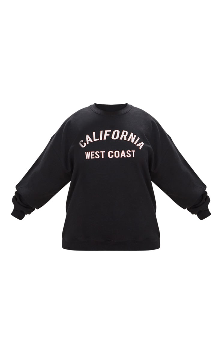 Plus Black California Slogan Oversized Sweater 3