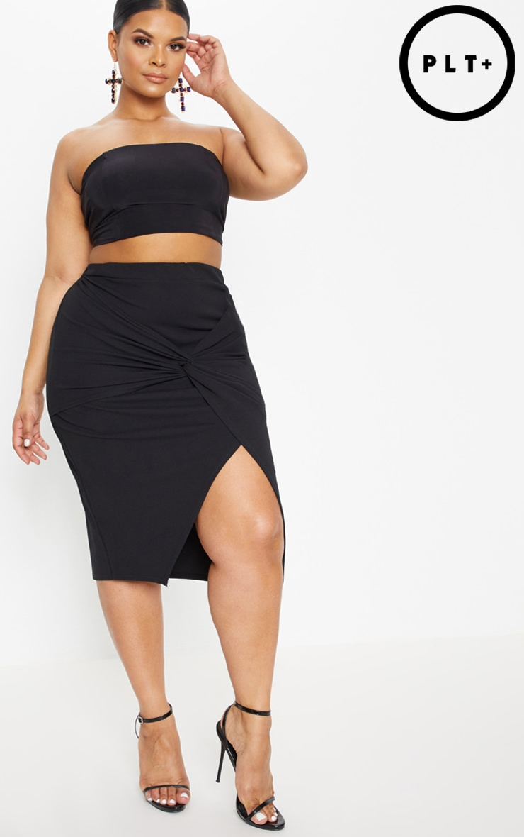 Plus Black Knot Front Midi Skirt 1