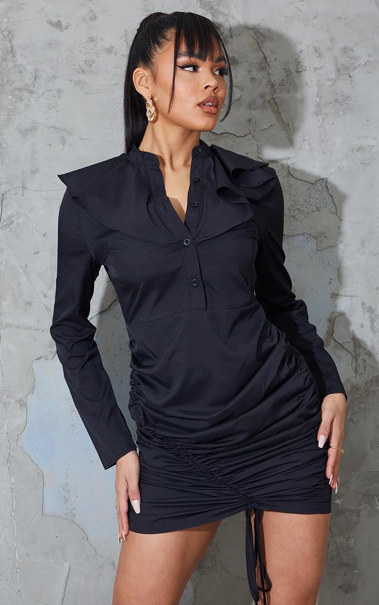 Black Neck Frill Detail Ruched Skirt Shirt Dress 1