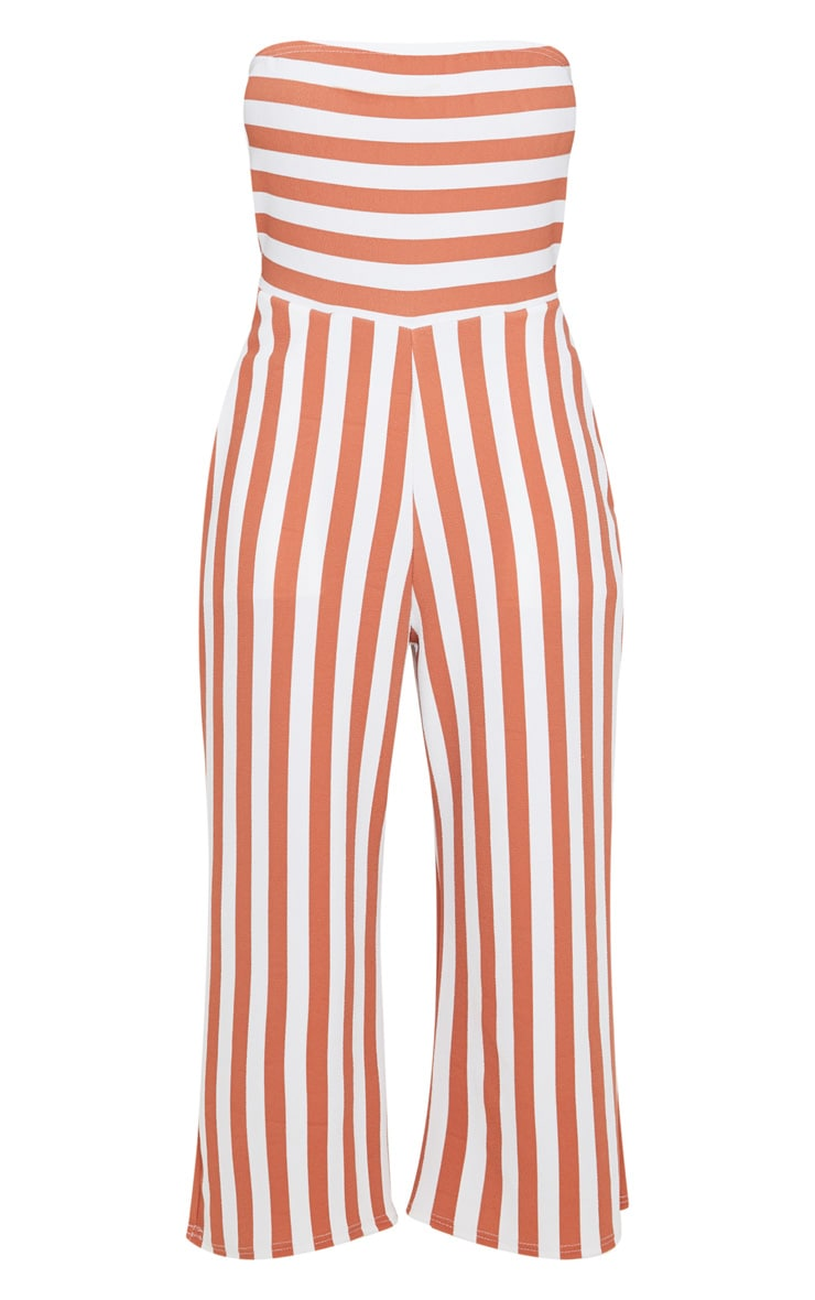 Terracotta Contrast Stripe Bandeau Culotte Jumpsuit 3
