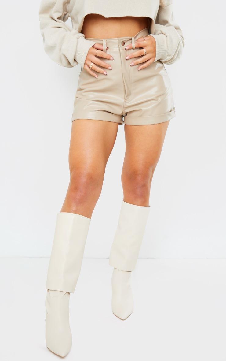 Stone Faux Leather Turn Up Hem Shorts 2
