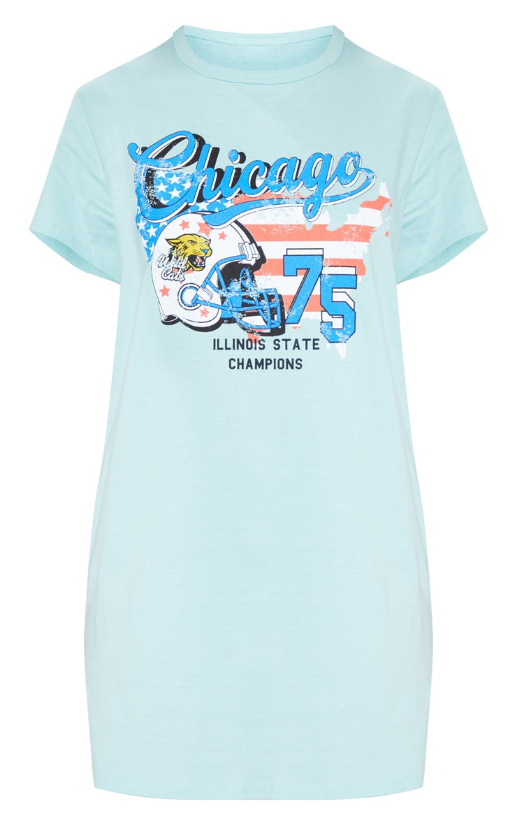 Teal Chicago Slogan Oversized Washed T Shirt Dress 3