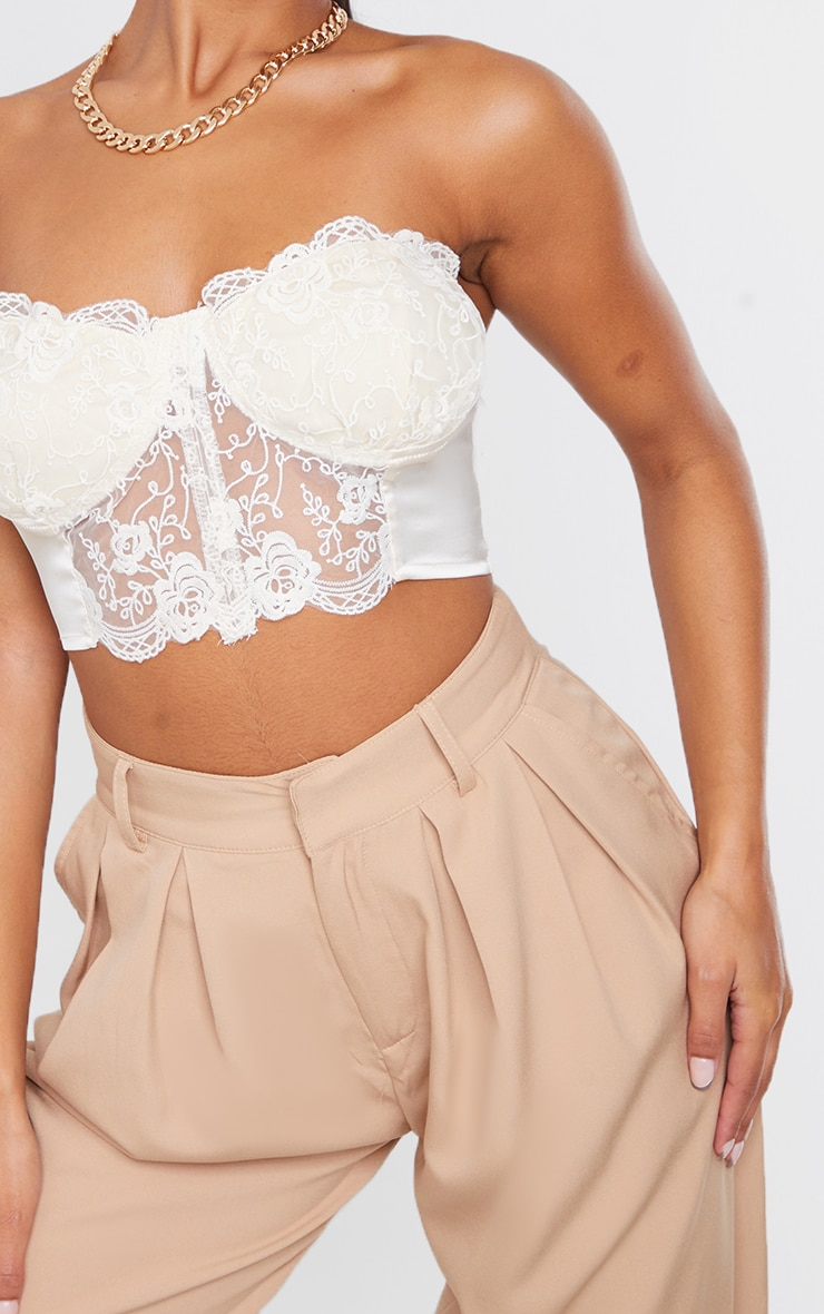 Cream Lace Embroidered Bandeau 4
