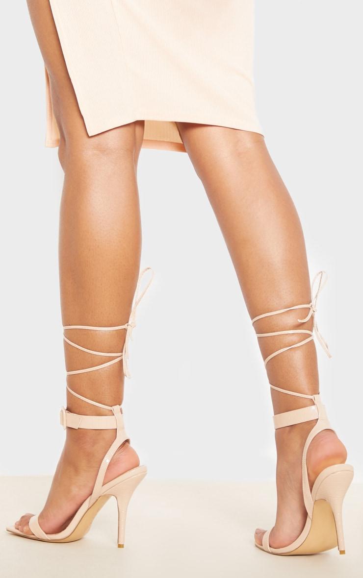 Sandales hautes carrées nude à imprimé croco et boucle cheville 2